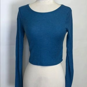Top shop midriff top size 4 blue long sleeve